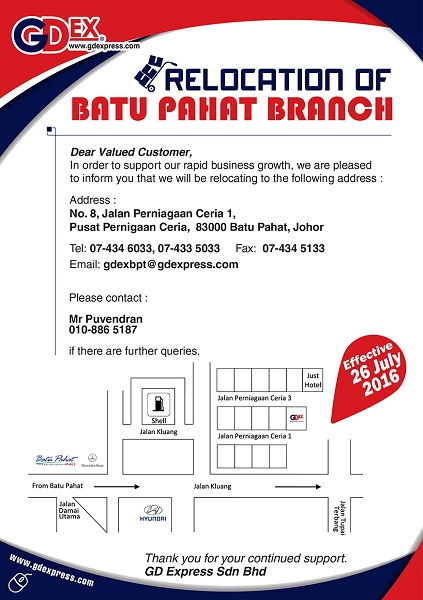 Batu Pahat Branch Relocation