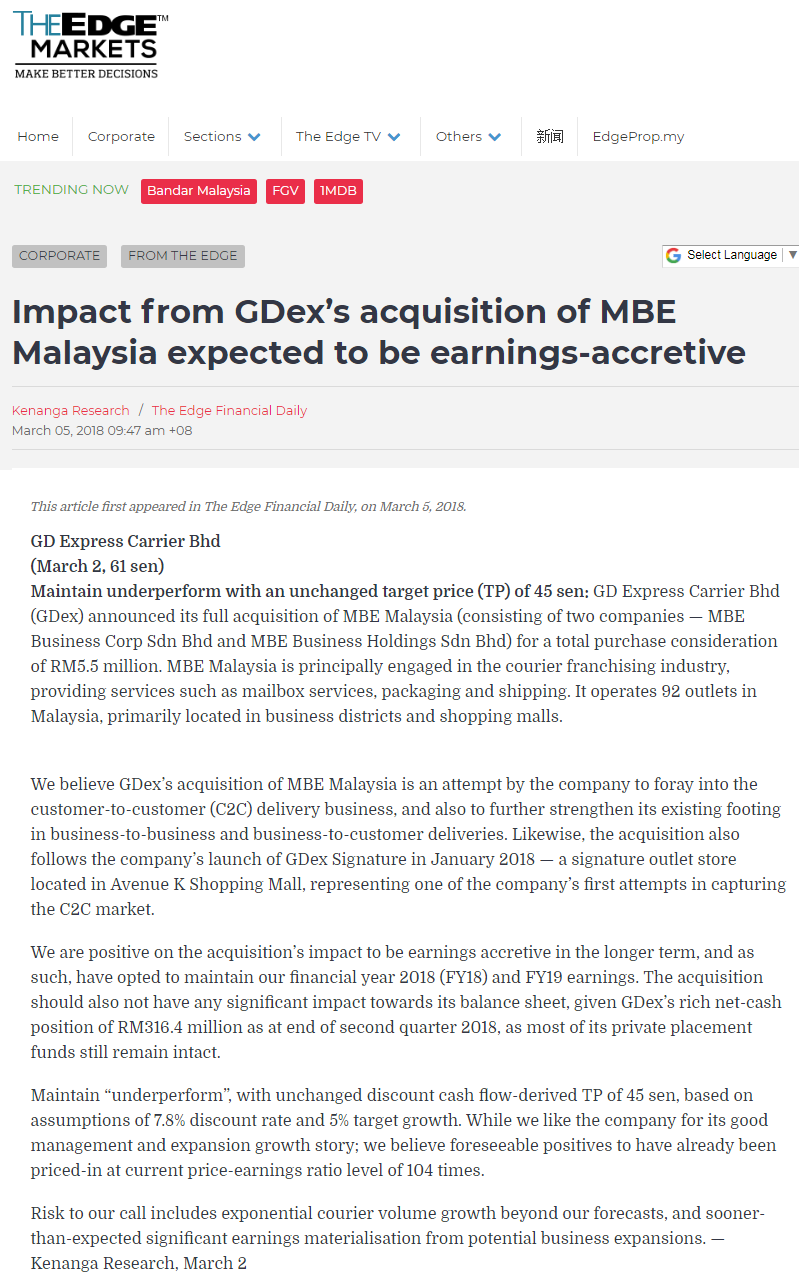 The Edge Markets - Impact from GDex's Acquisition of MBE Malaysia Expected to be Earnings-Accretive